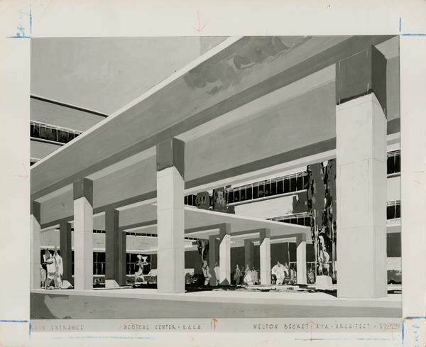 Architectural drawing of the entrance of the UCLA medical center