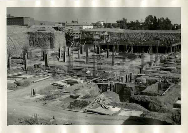 Part of the construction site of the UCLA medical center, c. 1951