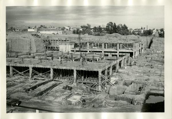 Building that will eventually turn into part of the UCLA medical center during construction, c. 1951