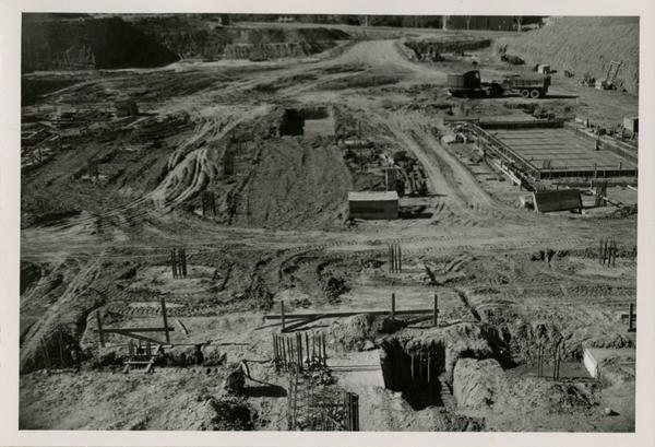Construction site of the UCLA medical center with some construction equipment in view, December 9, 1951