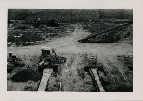 View of the construction site for the UCLA medical center looking south, December 25, 1951