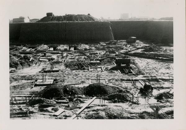 View of the construction site for the UCLA medical center looking south, January 27, 1952
