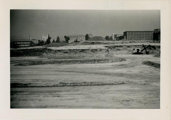 Construction site of the medical school looking north, September 3, 1951