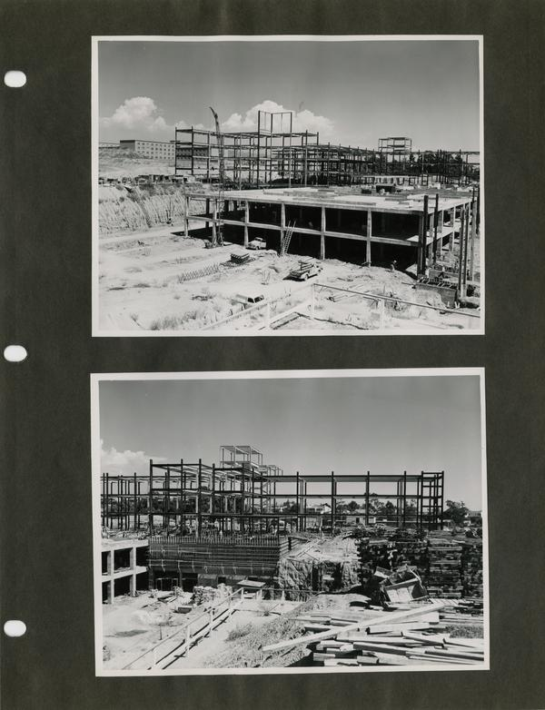 Various shots of UCLA medical center buildings during construction, c. 1951