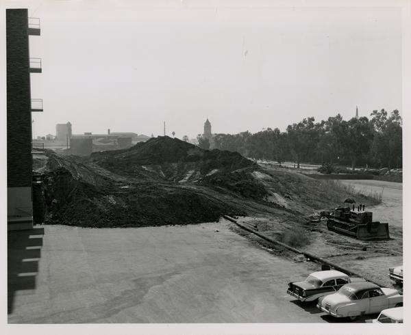 Dirt mound on the construction site for the medical center, 1959