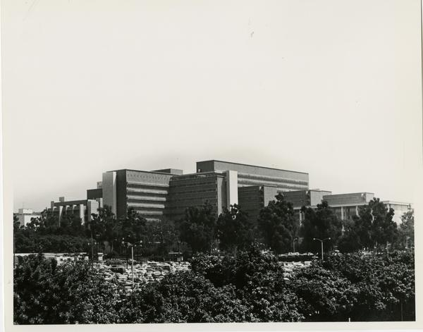 View of UCLA Medical Center through trees