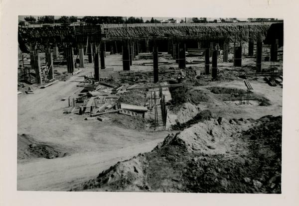 Looking east at UCLA Medical Center during construction, February 24, 1952