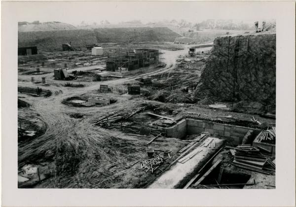 Looking southwest from northeast corner at UCLA Medical Center during construction, December 25, 1951