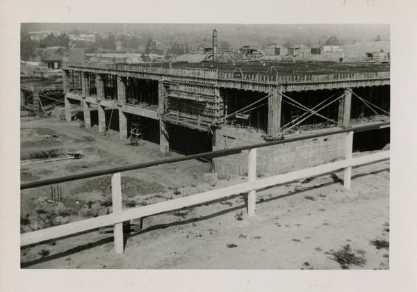 Looking northwest at UCLA Medical Center during construction, March 29, 1952