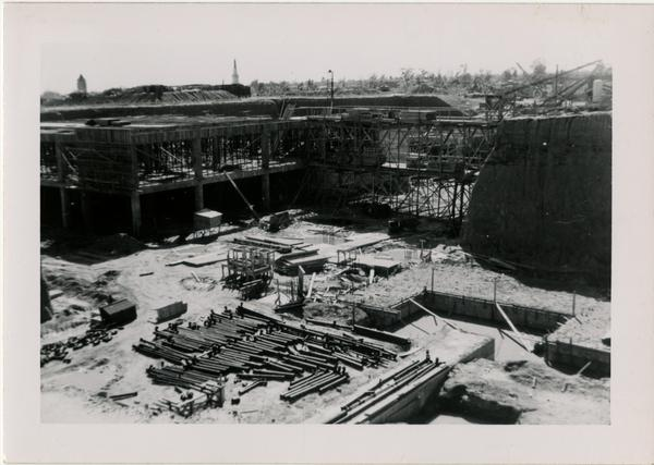 Looking southwest at UCLA Medical Center during construction, March 16, 1952