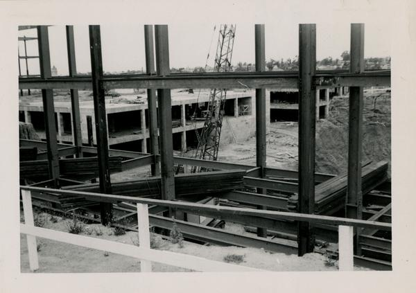 Looking southwest at UCLA Medical Center during construction, May 31, 1952