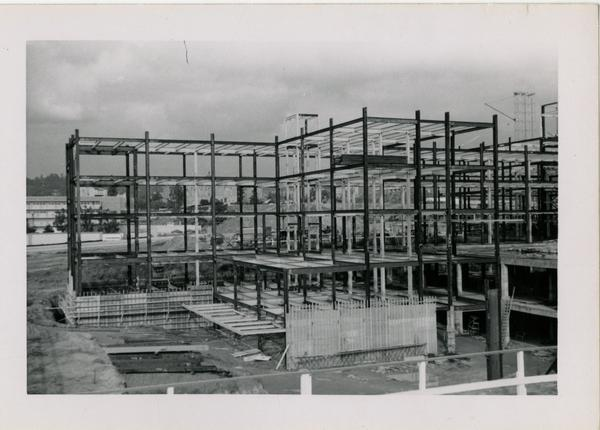 Looking northeast from southwest corner of UCLA Medical Center during construction, November 30, 1952