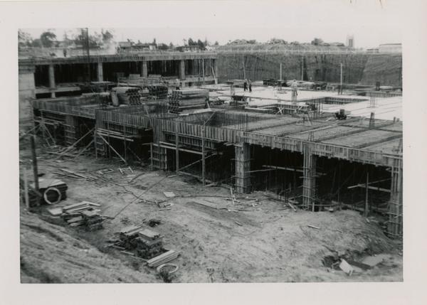 Looking southeast at UCLA Medical Center during construction, April 12, 1952