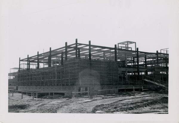 Looking southwest at UCLA Medical Center during construction, November 8, 1952