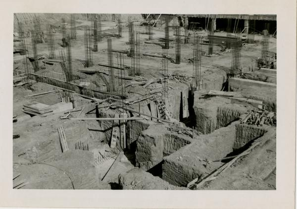 Looking northeast from southwest corner at UCLA Medical Center during construction, February 16, 1952