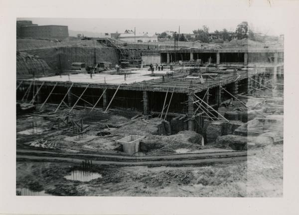 Looking northeast at UCLA Medical Center during construction, April 12, 1952