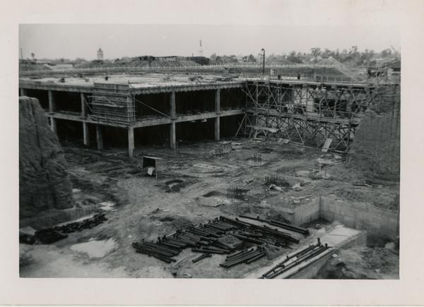 Looking southwest at UCLA Medical Center during construction, April 12, 1952