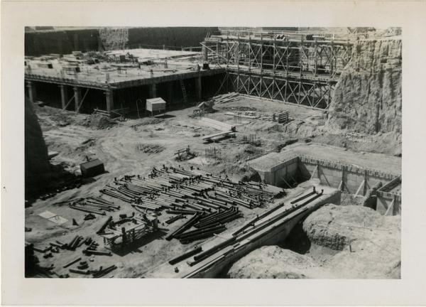 Looking southwest from northeast corner at UCLA Medical Center during construction, March 2, 1952