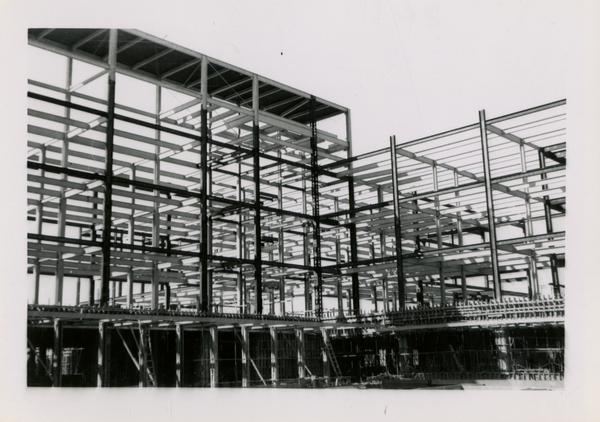 Looking southwest at UCLA Medical Center during construction, March 22, 1953