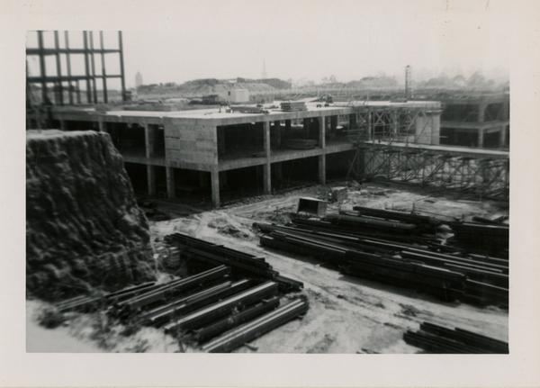 Looking southwest at UCLA Medical Center during construction, May 24, 1952