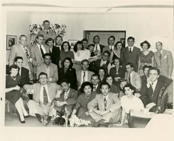Medical school students and spouses gathered for a group photo, c. 1950's