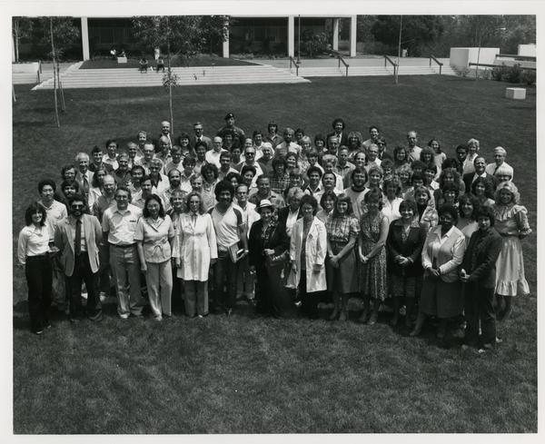 """""""One Gallon Donors"""" pose for a photo, May 1982"""