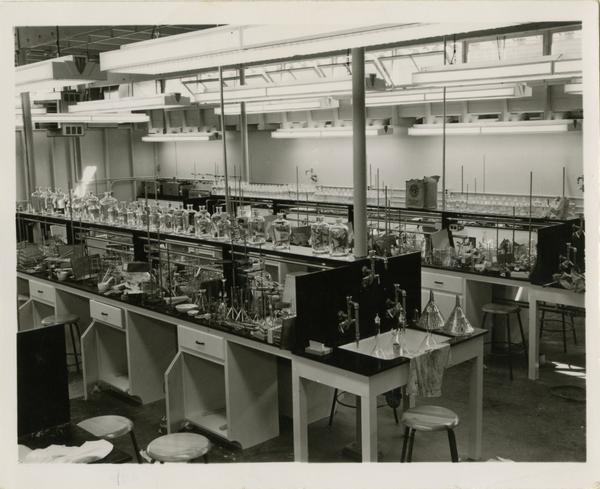 Empty medical school laboratory with equipment sitting on the work stations, 1955