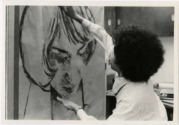 Art student, Marian Brown at work