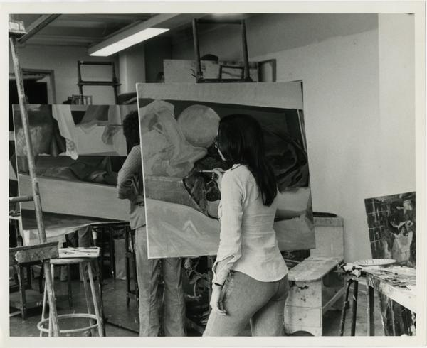 Student painting in art class circa 1970s