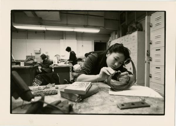 Art students working in art class circa 1970s