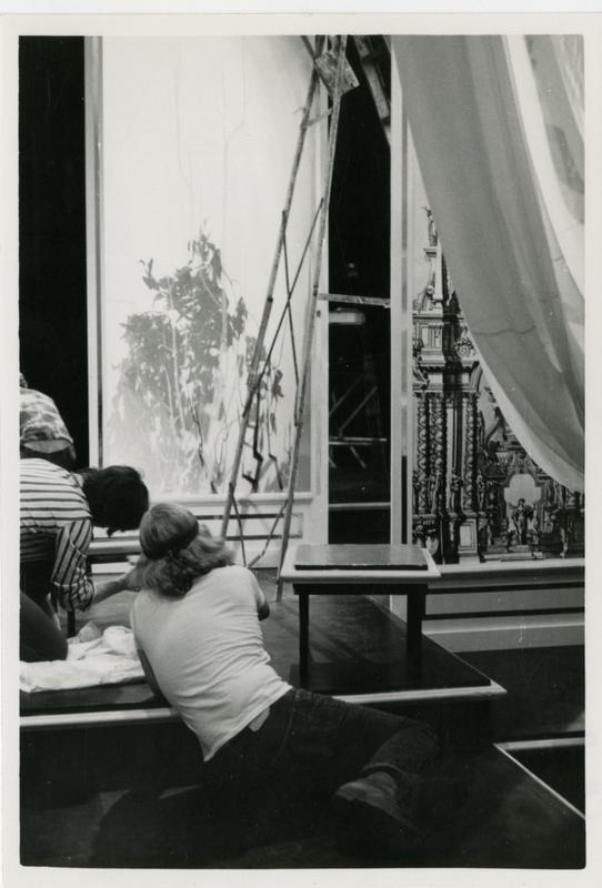 Actors prepare the stage or Queen Orontea of Egypt