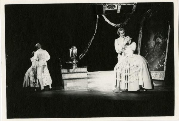 Actors performing a scene during an opera performance