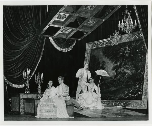 Four opera performers during a scene from Scarlatti Opera