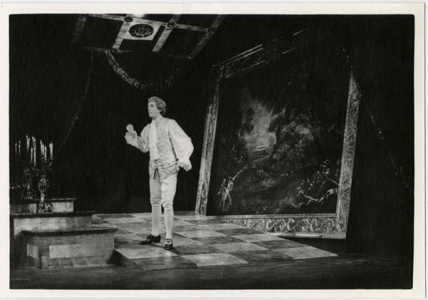Actor performing a scene on stage