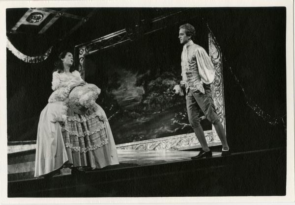 Two opera singers performing a scene during Scarlatti Opera