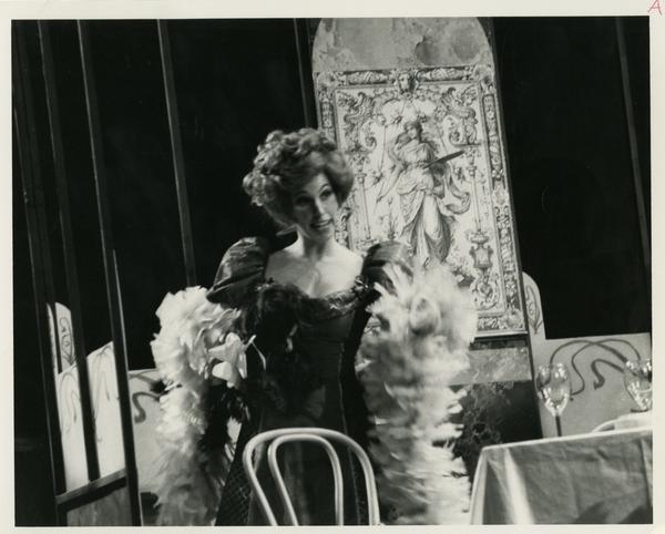 Actress practicing a scene during theLa Boheme Dress rehearsal, 1978