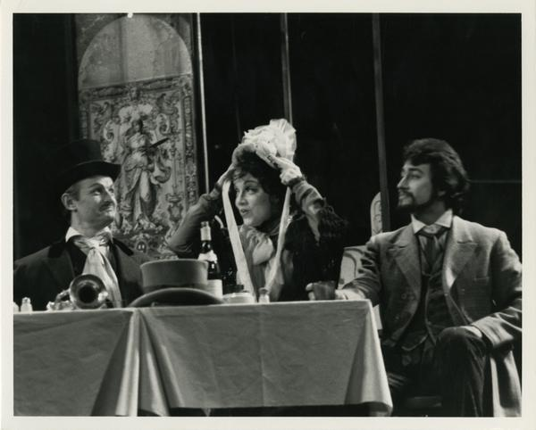 Actors practicing a scene during the La Boheme Dress rehearsal, 1978
