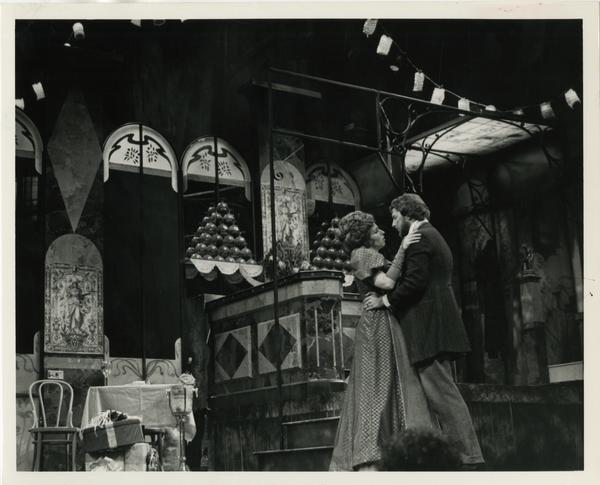 Two actors practice a scene during La Boheme dress rehearsal, 1978