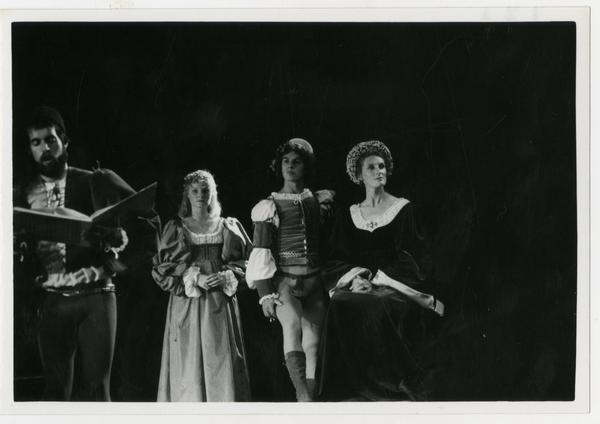 Three actors look into the audience while a fourth actor sings during a scene from Omaggio a Giorgionne, June 8, 1978