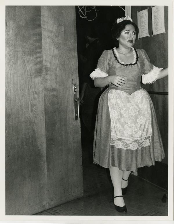 Actress exits a room in full costume before performing in Cosi Fan Tutti Opera, 1978