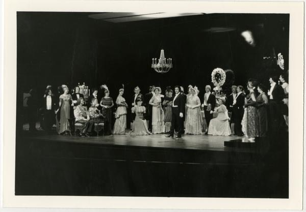 Actors on stage during the performance of La Traviata Opera, 1979