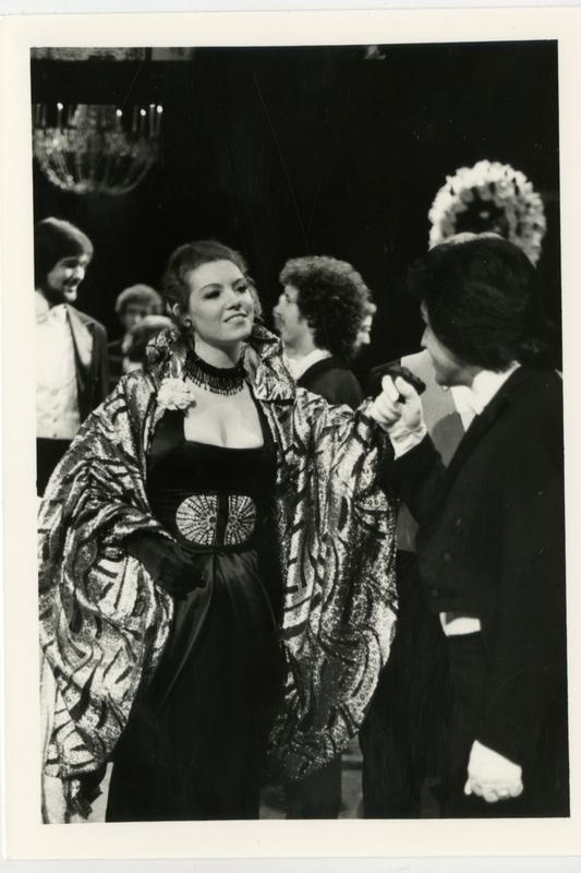 Two actors greet each other in preparation of performing La Traviata Opera, 1979