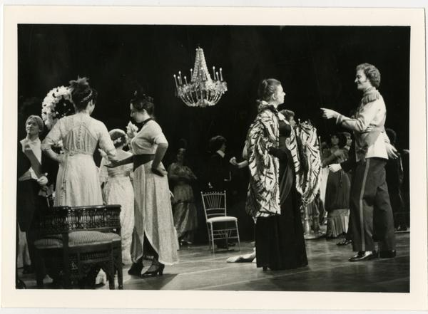Actors performing a scene on stage during La Traviata Opera, 1979