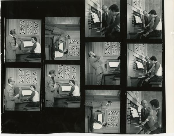 Various shots of Tom Harmon while he watches a student play the organ, c. 1984