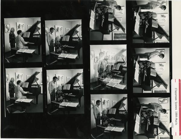 Various shots of an individual playing at the piano during class, 1984
