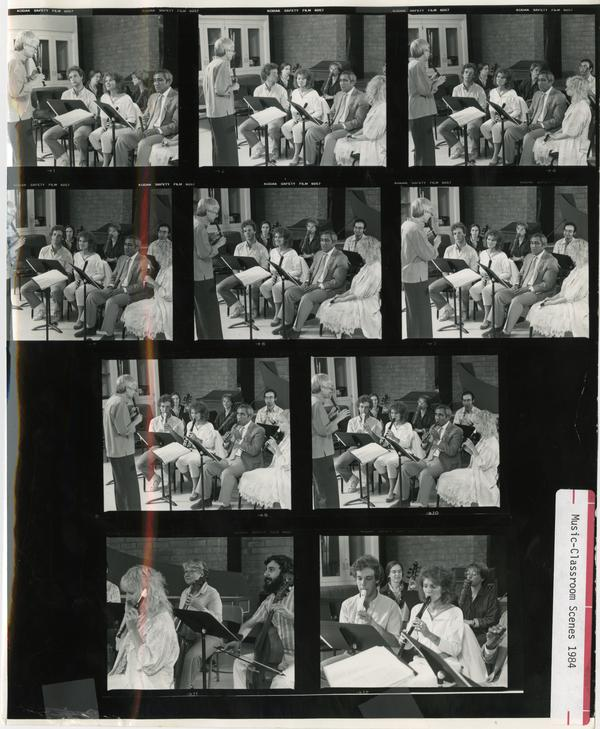 Various shots of students being led by a conductor during practice, 1994