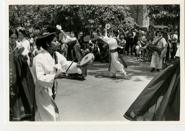 The Korean Folk Music and Dance Ensemble putting on a performance during the Ethno Spring Festival, c. 1970's