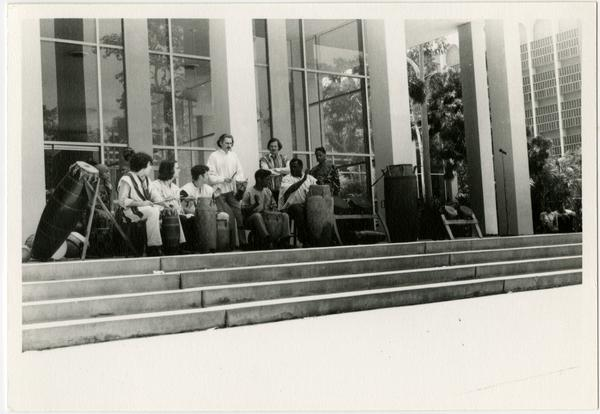 African Music and Dance Ensemble perform on stage during the Ethno Spring Festival, c. 1970's