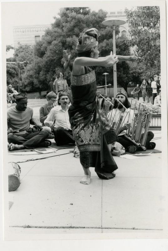 Balinese Gamelan and Dance performer on stage during the Ethno Spring Festival, c. 1970's