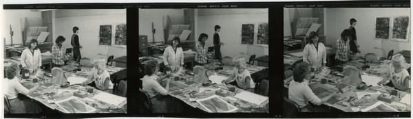Various shots of students in Professor Jenning's print-making class working on projects